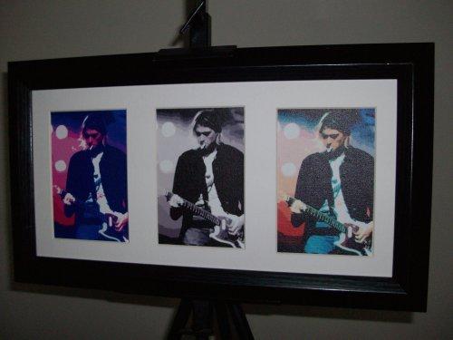 Kurt Cobain Nirvana Limited Edition Framed Triple Art Print ()