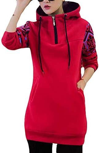 女性の厚いプルオーバーパーカーポケットスウェットシャツトップス Red US Large