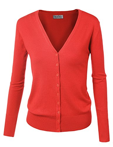 BIADANI Women Button Down Long Sleeve Soft V-Neck Cardigan Sweater Coral 2 Small ()