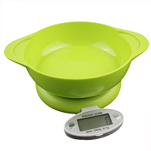 5Kg/1g Digital LCD Kitchen Food Cooking Diet Balance Multi-Purpose Weight Scale Household Tray Green