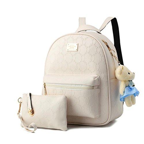 Women Sets Bag XibeiTrade 2 Shoulder Rucksack Ladies Beige Purse PCS PU Leather Backpack qEtHwHBCx