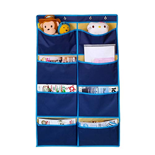 FamyFirst Hanging Organizer with Large Pockets, Oxford Cloth Wall Door Closet Hanging Storage Bag with 8 Pouches for Magazine, ipad, Underwear, Clothes, Socks, Books, Toys Navy, 38.58 x 24.4 inches