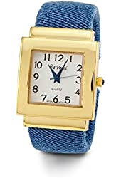 Women's Blue Gold Tone Expandable Bangle Quartz Watch