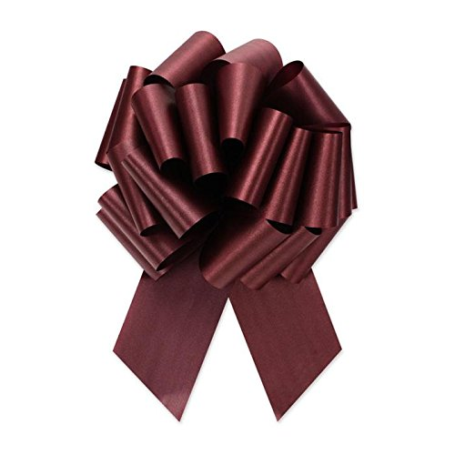 Berwick Offray Ribbon Pull Bow, 4'' Diameter with 18 Loops, Burgundy - Pull Burgundy Bows