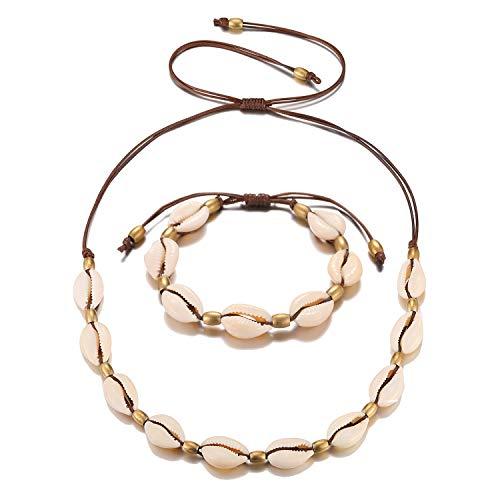 Starain 2 Pack Beach Shell Necklace Anklet Set for Women Girls Handmade Summer Beads Ankle Bracelet Adjustable