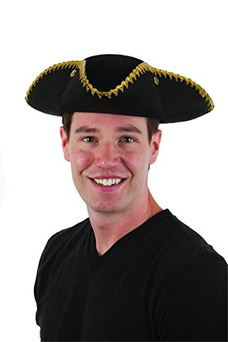 Tricorne Hat (Jacobson Hat Company Men's Tricorne Hat with Gold Trim, Black, Adult)