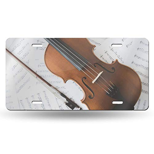 This Is Halloween Violin Sheet Music (DCKING Violin and Sheet Music Art Fashion License Plate Cover Decorative Front Panel 6