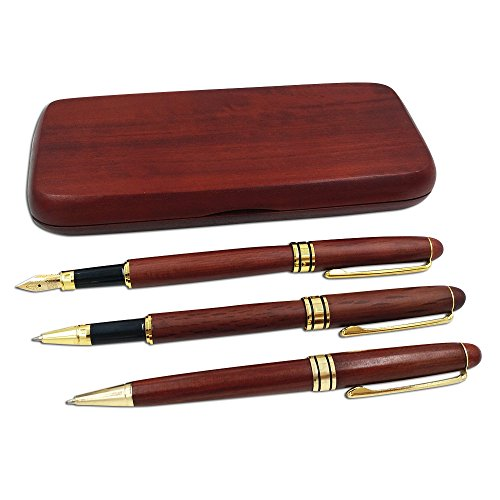 3 Pcs Wooden Pens with Gift Case/ Best Writing Fountain Pen, Ballpoint Pen and Gel Pen with Refills