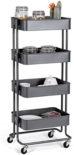 Giantex Rolling Utility Cart Mobile Storage Organizer Multifunctional Home Office Storage Trolley Serving Cart w Metal Mesh Shelves Lockable Wheels Gray, 4-Tier