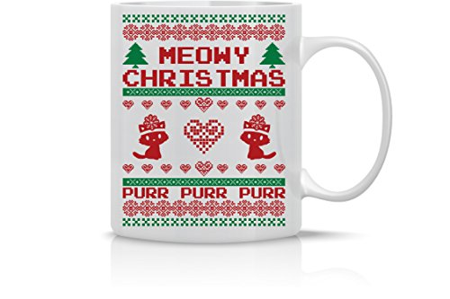 Meowy Christmas Purr - Merry Christmas Funny Cat Mug - 11OZ Coffee Mug - Holiday Mugs - Cute Xmas Mug, Funny Christmas Mug - Perfect Gift for the Holidays- By AW Fashions ()