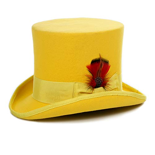 Ferrecci Wool Satin Lined Yellow Top Hat with Grosgrain Ribbon and Removable Feather - Unisex, Men, Women (Small-55cm-6 7/8, Yellow)