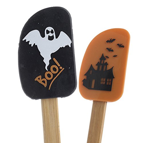 Group of 4 Dimensional Haunted House and Boo Spatulas in Orange and Black for Baking, Gifting or Just Displaying