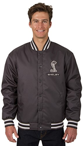 JH DESIGN GROUP Mens Shelby Cobra Poly-Twill Jacket With Embroidered Emblems (X-Large, Charcoal Gray) Xenon Cobra Design