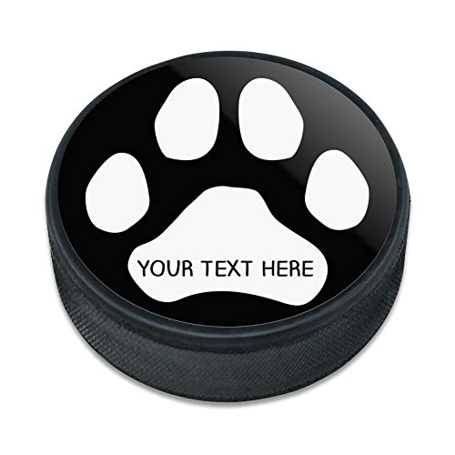 Pucks Personalized Hockey (GRAPHICS & MORE Personalized Custom Paw Print 1 Line Ice Hockey Puck)
