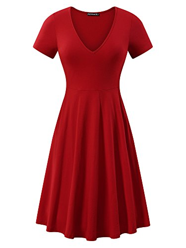 FENSACE Women's v-Neck Solid Short-Sleeve Knee Fit-and-Flare Dress, Red, Medium