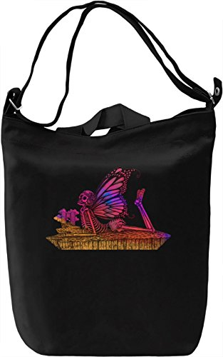 Butterfly Skull Borsa Giornaliera Canvas Canvas Day Bag  100% Premium Cotton Canvas  DTG Printing 
