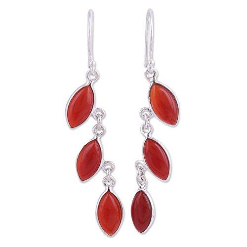 NOVICA Carnelian .925 Sterling Silver Dangle Earrings 'Fascinating Leaves'