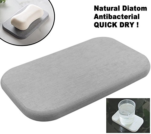 Absorbent Bar Soap Dish Soap Saver / Stone Coaster Quick Dry (1 Gray) (Coasters Concrete Drink)