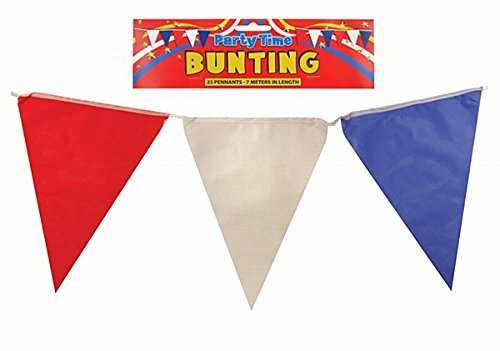 Henbrandt Plastic Triangle Flag Bunting - Red White and Blue F63-004HNB