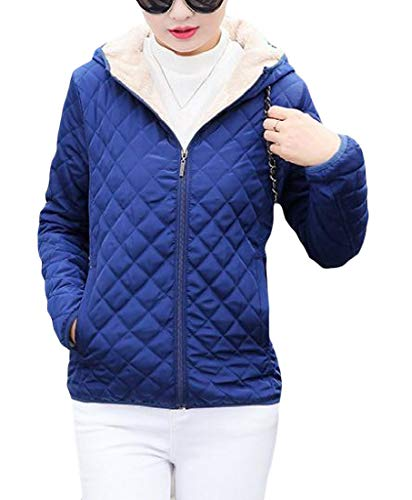 Cromoncent Women Fleece Hoodie Quilted Thick Winter Outerwear Jacket Parkas Coat Royal Blue S by Cromoncent