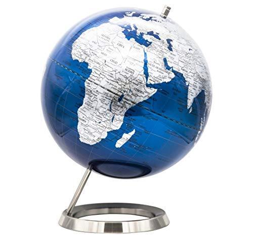 Exerz 12'' Globe Metallic Blue, Nickel Metal Ring Standing, Packaging in Premier Kraft Box, Modern Metal Earth