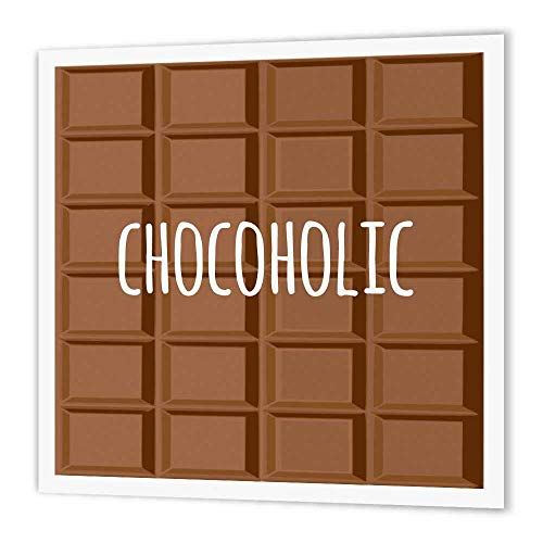 - 3dRose ht_151340_1 Chocoholic White Text on Chocolate Image Fun Gifts, Chocolate Lovers Iron on Heat Transfer, 8 by 8-Inch, for White Material