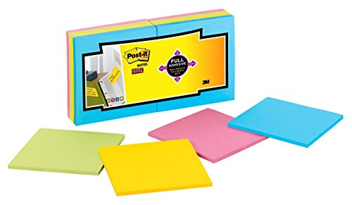 Post-it Super Sticky Full Adhesive Notes, 2x Sticking Power, 3 in x 3 in, Rio de Janeiro Collection, 16 Pads/Pack (F330-16SSAU) by Post-it