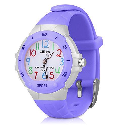116 Kids Watch 30M Waterproof,Children Cartoon Wristwatch Child Silicone Wrist Watches Gift for Boys Girls Little Child - PerSuper (Purple)