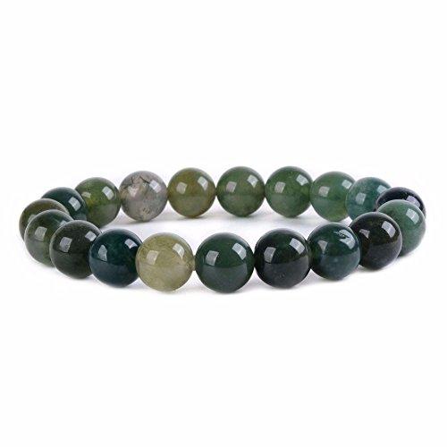 Moss Agate Stone Bead Bracelet - 5