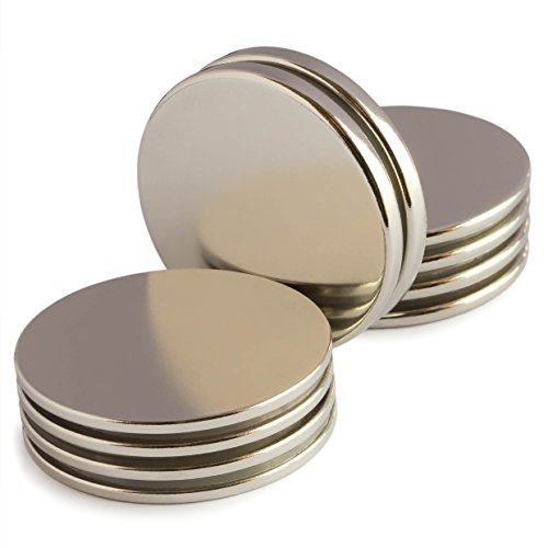 Shaped Disk Pack (Powerful Neodymium Disk Magnets - Mixed Pack of 10 Rare Earth Magnets - Permanent N52 Round Magnets for DIY, Fridge, Hanging - 1.26