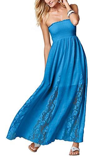 - Jusfitsu Women's Tube Top Strapless Floral Lace Evening Party Dress Cotton Long Maxi Dresses Blue XL