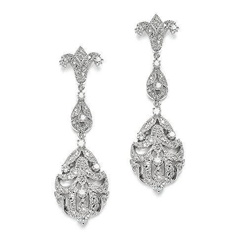 Pave Vintage Earrings (Mariell 1920's CZ Dangle Vintage Wedding Earrings for Brides - Genuine Platinum Plated Antique Jewelry)