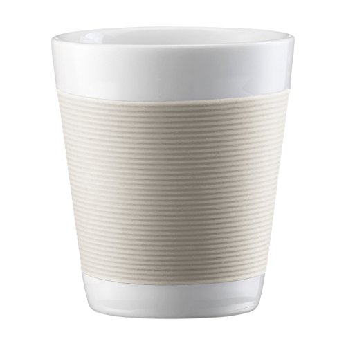 UPC 727015049953, Bodum Canteen Porcelain Double Wall Espresso Cup with Silicone Grip, Off White, Set of 2