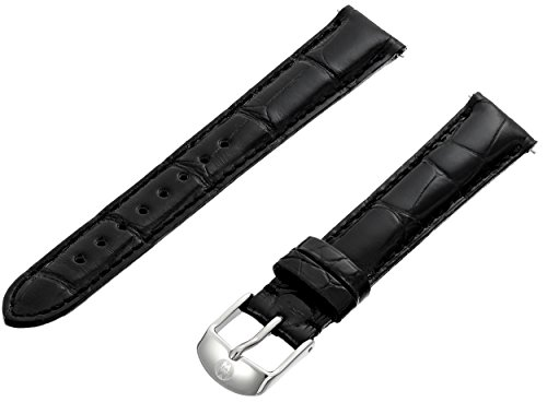 MICHELE MS16AA010001 16mm Black Leather Alligator Leather Watch Strap