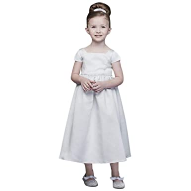 ce2c9e3b8 Amazon.com: David's Bridal Satin A-Line Flower Girl/Communion Dress with  Cap Sleeves Style OP256: Clothing