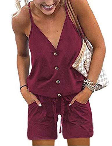 Naggoo Women's Jumpsuits and Rompers Sexy Button Up Strap Short Jumpers with Pockets Wine Red S