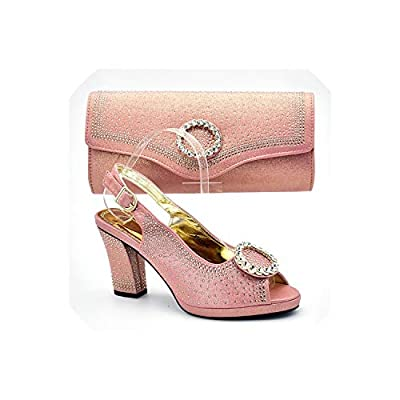 Italian Shoes with Matching Bags Set Decorated with Rhinestone African Shoes and Bag Set Women Shoes Summer 2019
