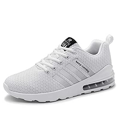 FZUU Athletic Minimalist Trail Running Shoes Lightweight Jogging Walking Gym Sports Sneakers for Men Women White Size: 7.5
