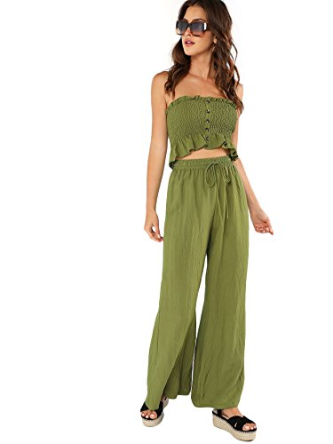 Floerns Women's Strapless Tube Top and Pants Two Piece Set Green M