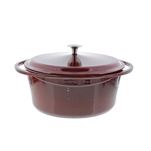 Artland La Maison Cast Iron Oval Casserole Dish, 7-Quart, Crimson