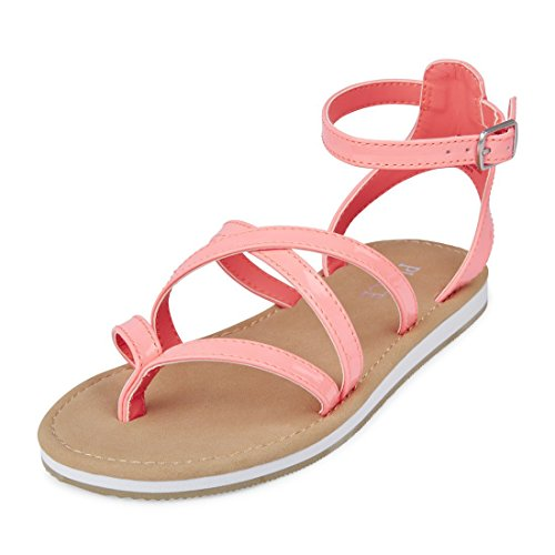 The Children's Place Girls' E BG Strappy SS Flat Sandal, Pink, Youth 11 Medium US Big Kid (Girls Youth Sandals Pink)