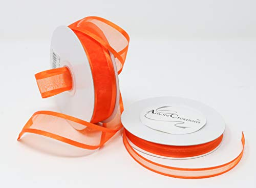 Orange Organza Ribbon With Satin Edge-25 Yards X 5/8 Inches