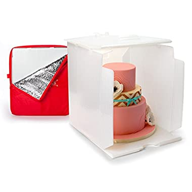 Innovative Sugarworks Small Cake Porter with Insulated Cover and Cake Carrier, 14  x 14  x 16 , White