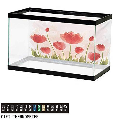 (wwwhsl Aquarium Background,Floral,Romantic Tulip Bloom Flower Meadow Fresh Feminine Buds Watercolor Effect,Vermillion Green Peach Fish Tank Backdrop 48