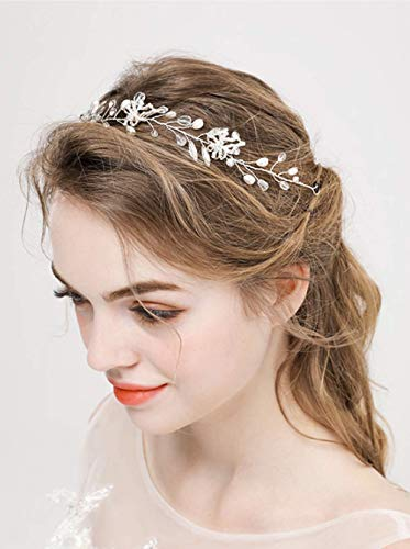 Denifery Bridal Silver Leaf Bridal hair vine Leaf