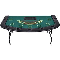 Giantex Folded 7 Player Pocker Blackjack Table Texas Holdem Car Game W/Chip&Cup Holder