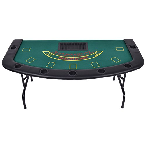 Large Top Drilled Chip (Giantex Folded 7 Player Pocker Blackjack Table Texas Holdem Car Game W/ Chip&Cup Holder)
