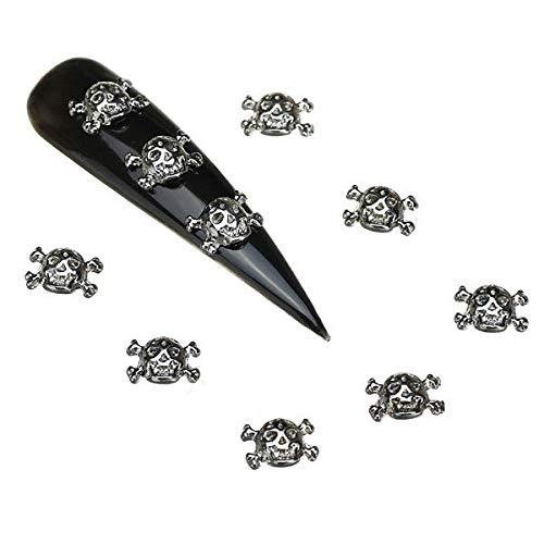 tion - 3D Cool Skull Nail Decoration Lady Girls Metal 10Pcs Alloy ()