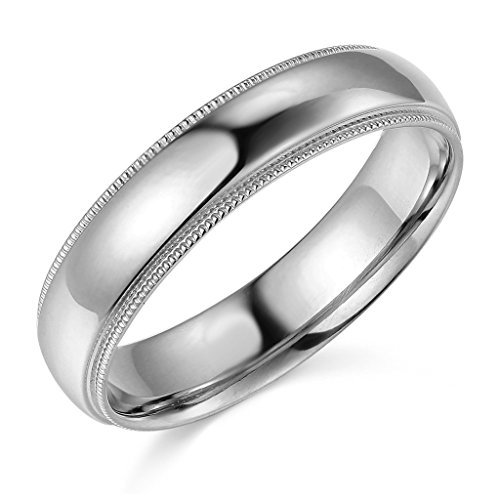 14k White Gold 5mm Comfort FIT Plain Milgrain Wedding Band - Size ()