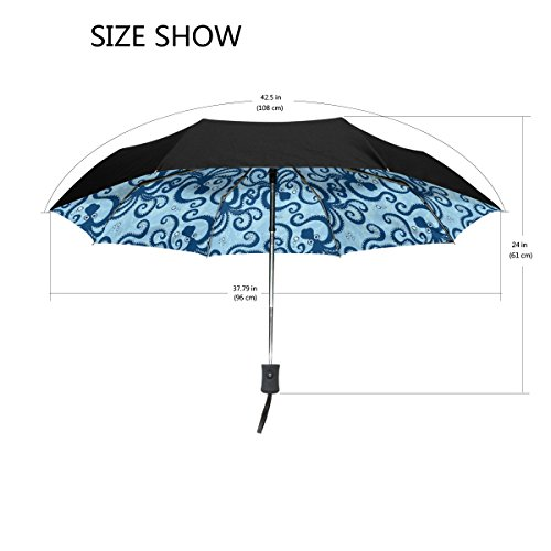 Cheap Aideess Outer Black Umbrella Blue Sea Octopus Anima UV Anti Lightweight Parasol Elegant Reverse 3 folding Drop Sturdy Umbrella Special Gifts for Business & Personal